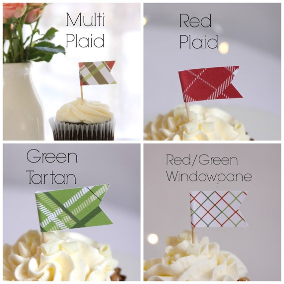 Plaid Party Cupcake Topper, Tartan Plaid, Kentucky Derby Party,  Equestrian Birthday Decorations