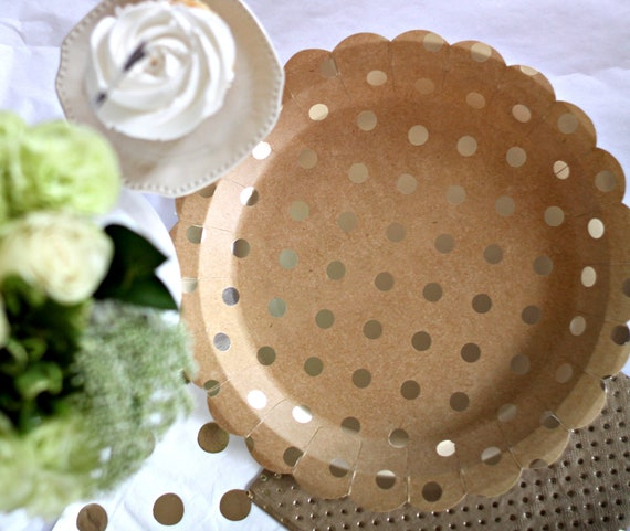 Gold Polka Dot Paper Plates, Bridal Shower Decorations, Pink and Gold Oh Baby Shower Ideas