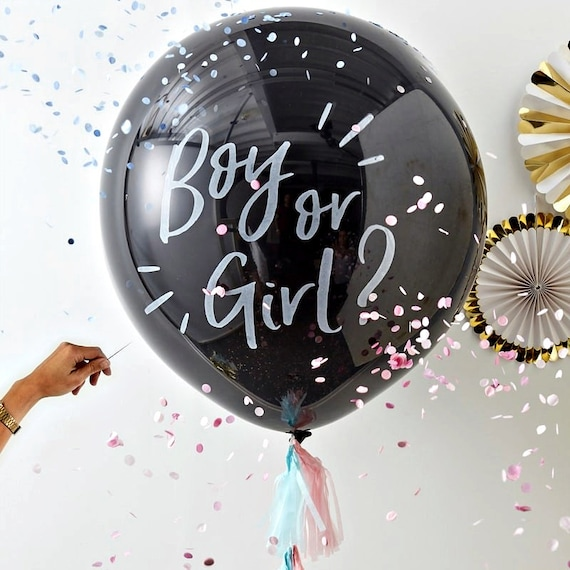 Gender Reveal Balloon Kit , Boy or Girl Confetti Balloon , Pink or Blue, He or She What Will Baby Be