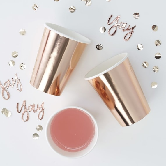 Rose Gold Foil Paper Cups, Bridal Shower Decorations, Rose Gold Party Supplies, Baby Shower Cups