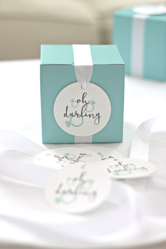 Oh Darling Engagement Party Favors, Bridal Shower Tags, Breakfast at Tiffany's, Bride and Co.