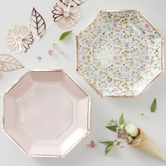 Rose Gold Floral Paper Plates, Tea Party Decorations, Bridal Shower Place Settings