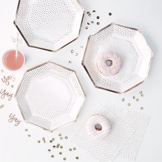 Rose Gold Polka Dot Paper Plates, Bridal Shower Decorations, Pink and Gold Party Supplies