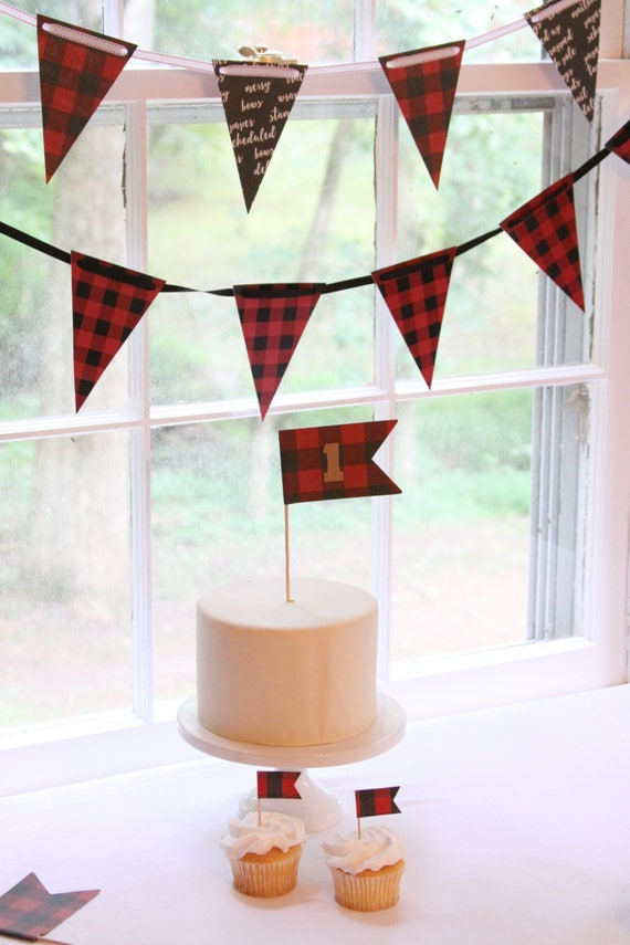 Lumberjack Birthday Party Decorations, Hot Cocoa Bar Banner, Buffalo Plaid, Buffalo Check Garland, Flannel and Fizz Bachelorette