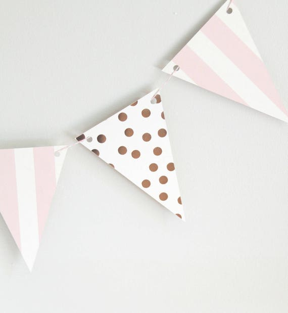 Rose Gold Banner, Rose Gold Baby Shower Garland, Shabby Chic Bridal Shower, Rose Gold Party Decorations, Blush Birthday Party, Stripe
