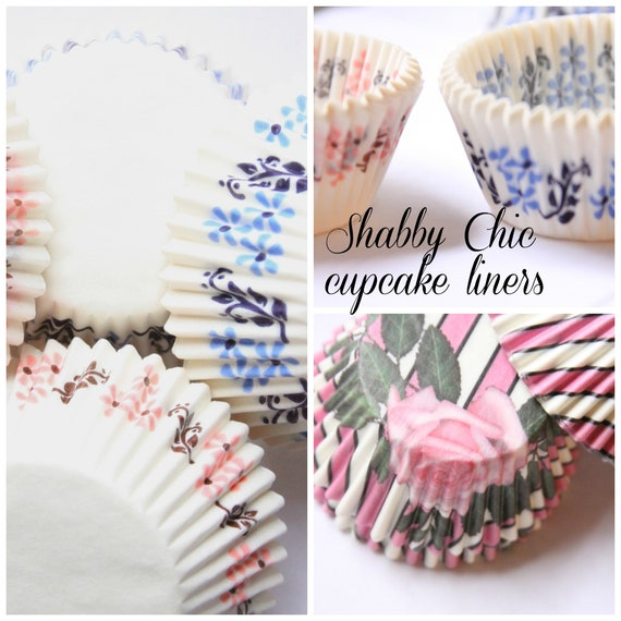 Shabby Chic Cupcake Liners, Baby Shower, Boho, Floral Baking Supplies, Baking Supplies, Run for the Roses Derby Party