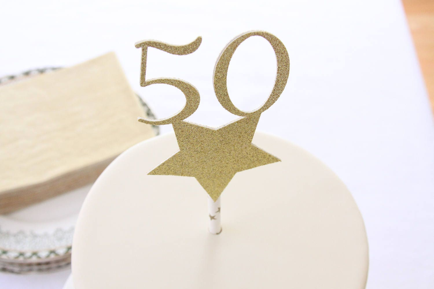 50th Birthday Ideas Cake Topper, 50 and Fabulous Cake, Golden ...