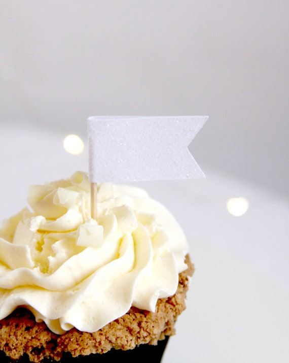 Let It Snow Wedding Cupcake Toppers, Winter Baby Shower White Glitter Flags, Dinner on Blanc,