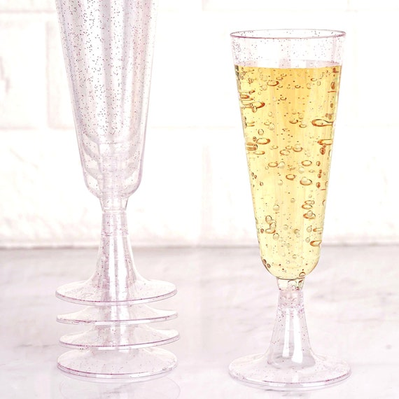 Mimosa Bar, Glittered Champagne Flutes, 12 Pack 5oz, Disposable Plastic Cocktail Glasses