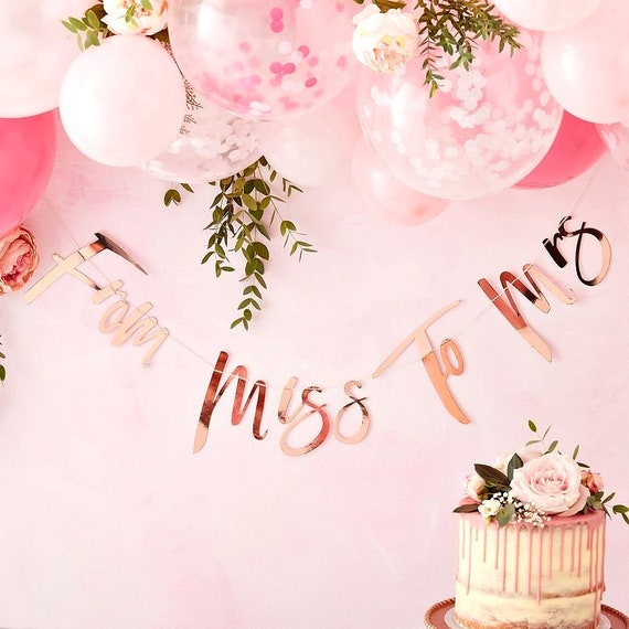 From Miss To Mrs Bridal Shower Banner, Rose Gold Bachelorette