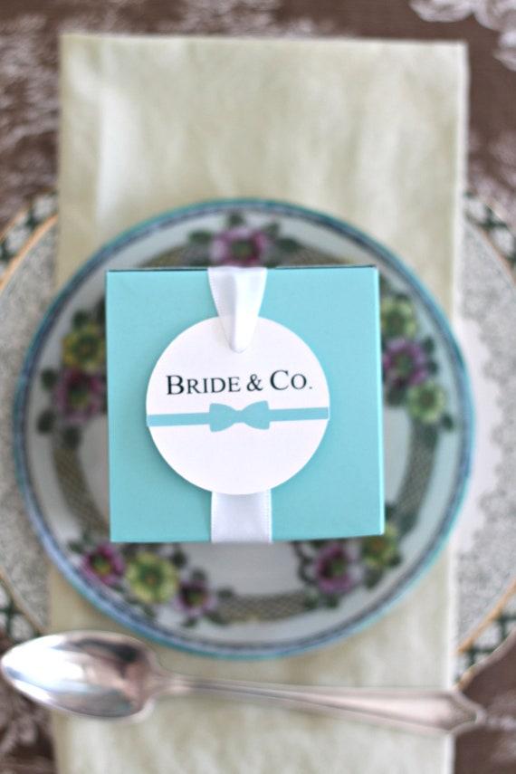 Bride and Co Favor Boxes, Robins Egg Blue Wedding Favor Boxes, Bride and Co Shower Gift Packaging, Bridesmaid Gift Box