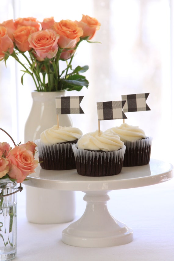 I Do BBQ Cupcake Topper, Black and White Buffalo Check