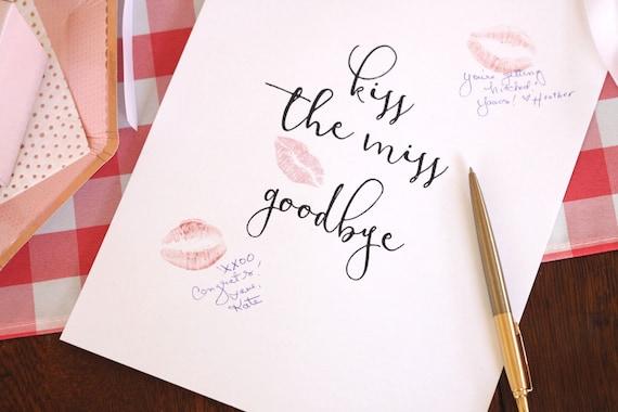 Kiss the Miss Goodbye Sign, Printable Bridal, Lipstick Kiss Print Download, Frame for Kisses
