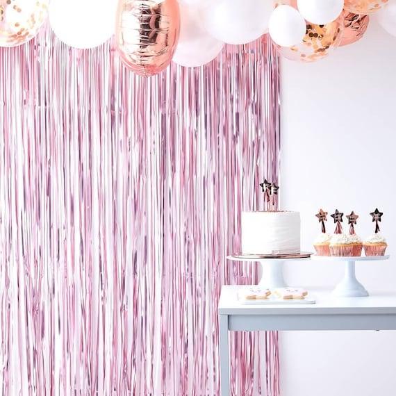 Pink Fringe Photo Booth Backdrop, Streamer Backdrop  For Girl Baby Shower