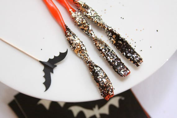 Halloween Birthday Candles, Glitter Dipped, Black and Orange Birthday Party Supplies, Halloween Party Decor, Unique Birthday Candles