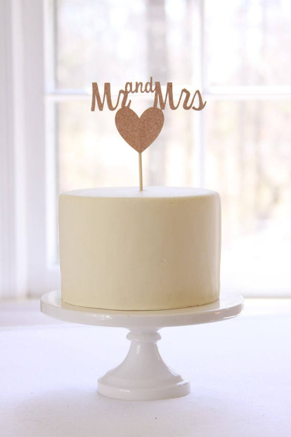 Mr And Mrs Rose Gold Cake Topper Rose Gold Wedding Cake Etsy