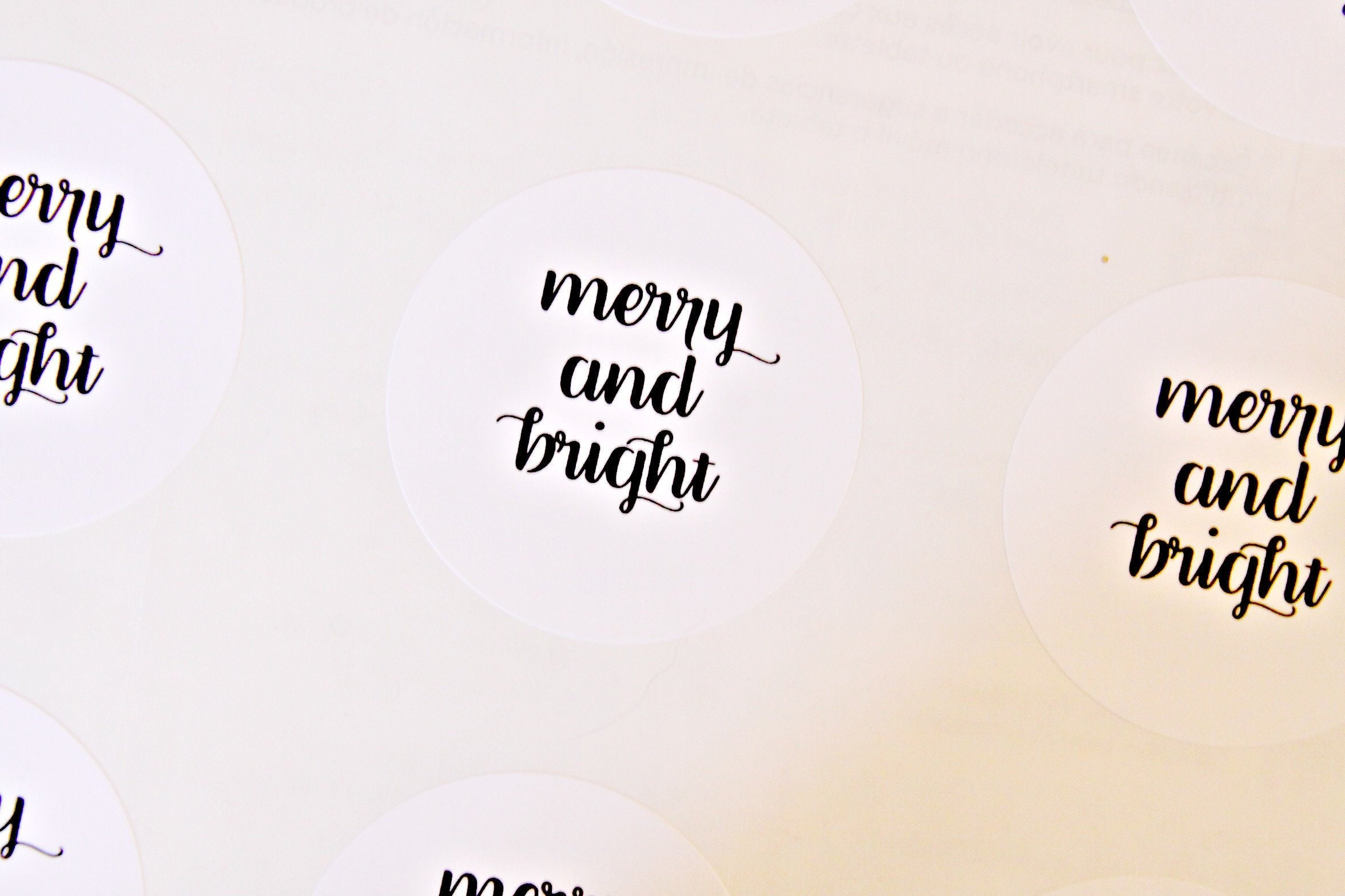 Merry and Bright Christmas Stickers, Holiday Stickers, Christmas ...