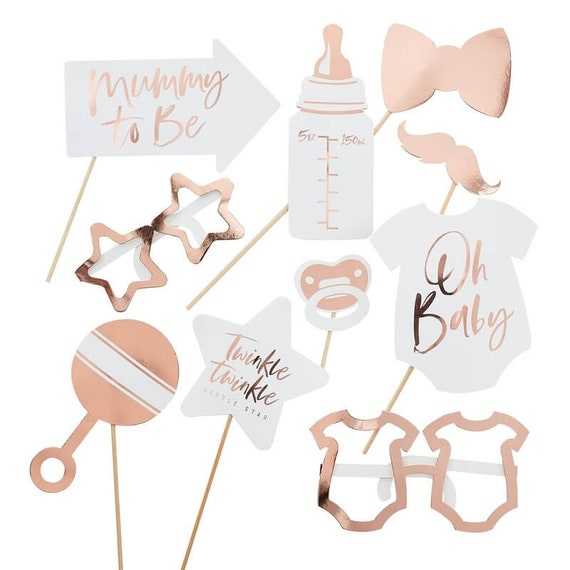 Oh Baby Shower Photo Props, Rose Gold Photo Booth Props
