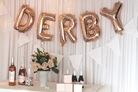 Derby Balloons, 16 inch Rose Gold Mylar Balloons, Derby Bridal Shower, Kentucky Derby Party Backdrop
