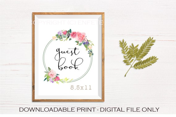 Floral Wedding Guest Book Sign, Printable Digital Download