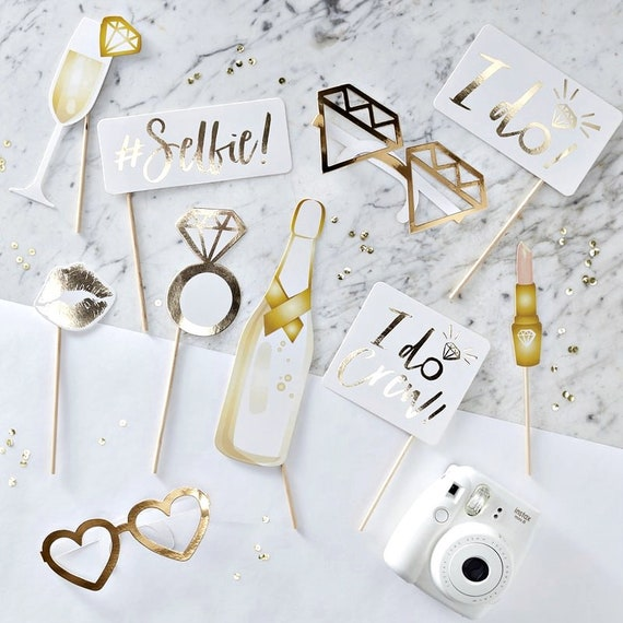 Bridal Shower Photo Props, Bachelorette Instagram Props, Gold Bridal Shower Decor, Photo Booth Cutouts