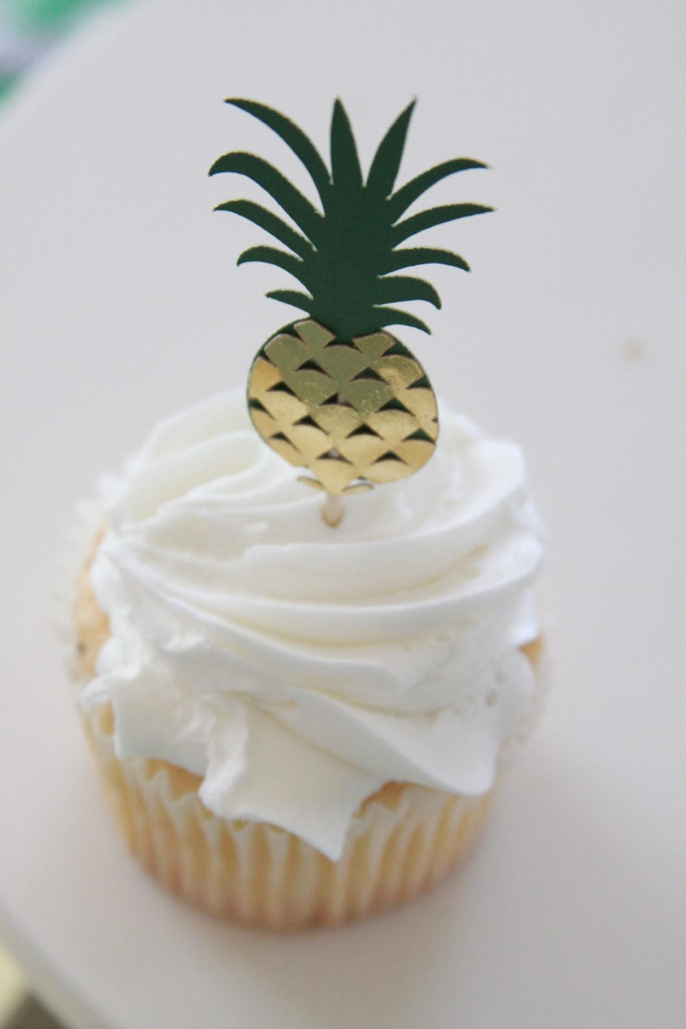 Pineapple Cupcake Toppers, Gold Pineapple Party, Luau Decorations ...