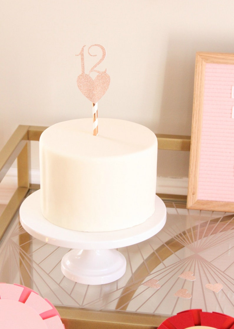 Rose Gold 12th Birthday Cake Topper 12 Pick With Heart