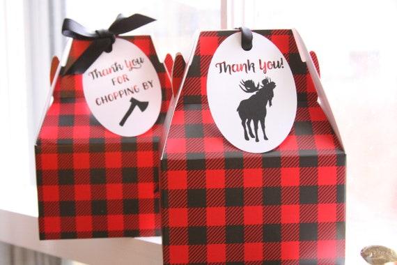 Buffalo Plaid Gable Boxes, Lumberjack Party Favor Boxes, Christmas Gift Boxes, Buffalo Check Packaging