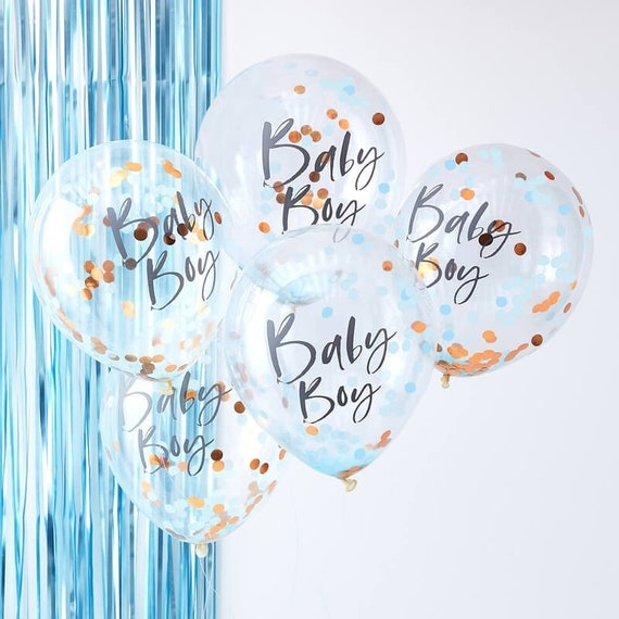 Baby Boy Baby Shower Balloons, Rose Gold and Blue Baby Boy Balloons, New Baby Balloons