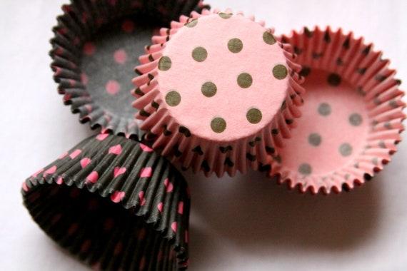 Pink and Black Polka Dot Cupcake Liners, Birthday Party, Bridal Shower