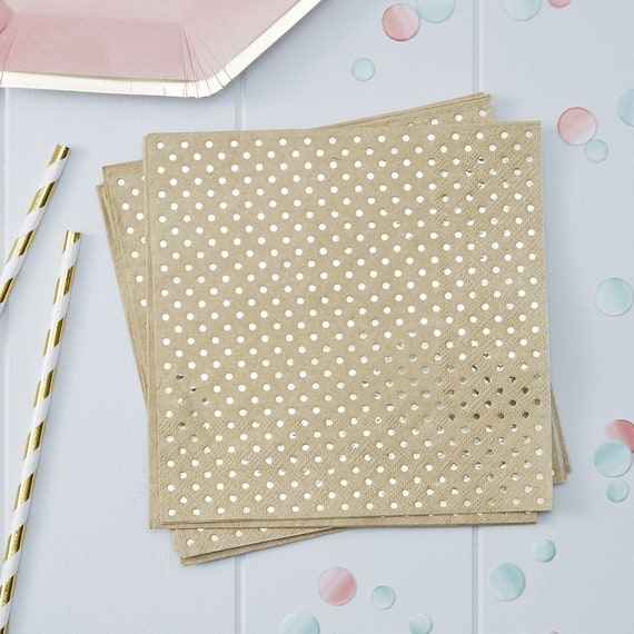 Gold Polka Dot Craft Napkins,  Oh Baby Shower Decorations, Bridal Shower Decorations