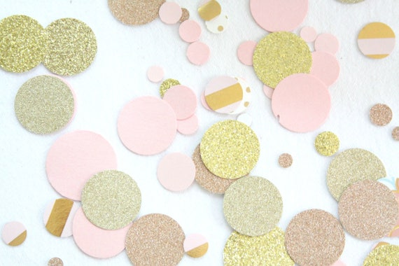 Rose Gold Confetti Pink And Gold Baby Shower Decorations Etsy