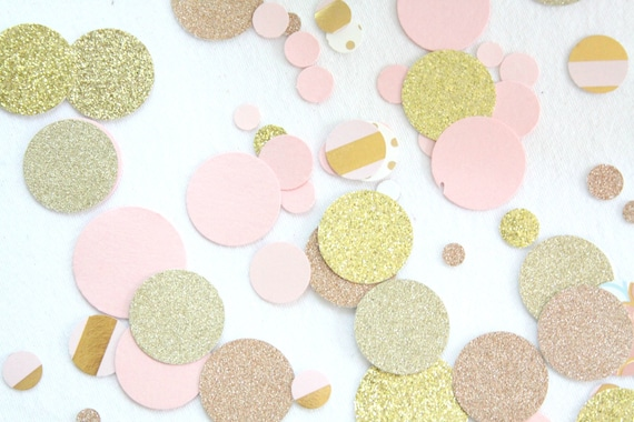 Rose Gold Confetti, Pink and Gold Baby Shower Decorations,  Pink and Gold Bridal Shower Decor, Rose Gold Wedding, Rose Gold First Birthday