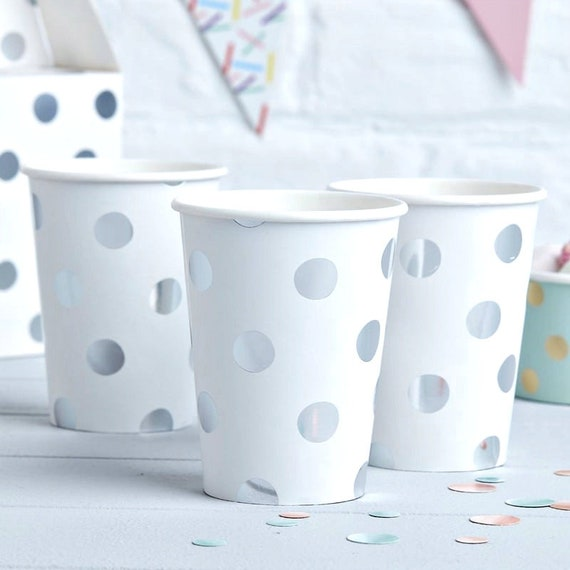 Baby and Co Silver Polka Dot Paper Cups