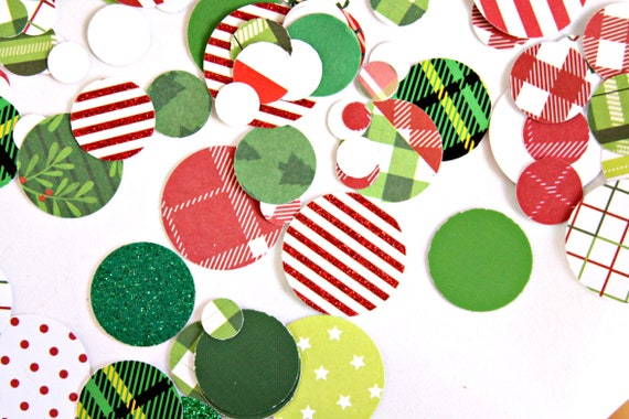 Christmas Confetti, Mad for Plaid, Christmas Table Decorations, Holiday Confetti