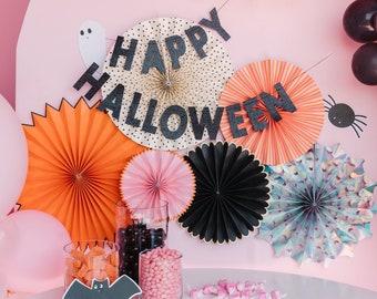 Happy Halloween Banner - Black Glitter