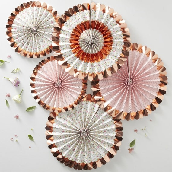 Rose Gold Foiled Floral Fan Decorations, Shabby Chic Bridal Shower, Baby Shower Decorations, Blush Birthday Party
