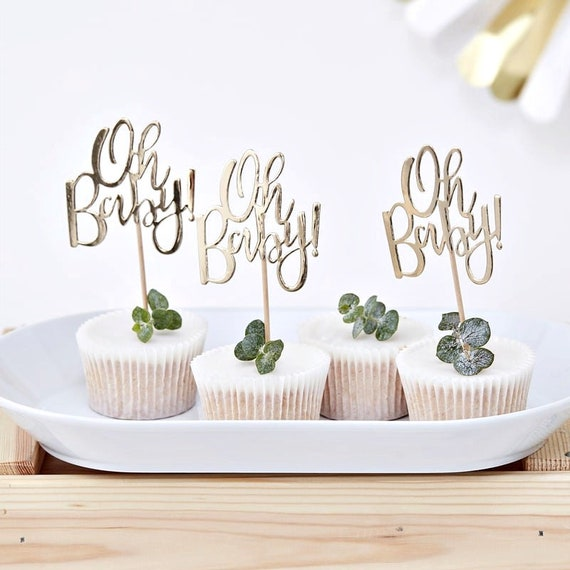 Oh Baby Gold Cupcake Toppers, Baby Shower Decorations
