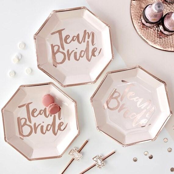 Rose Gold Team Bride Plates, Bridal Shower Decor, Bachelorette Party