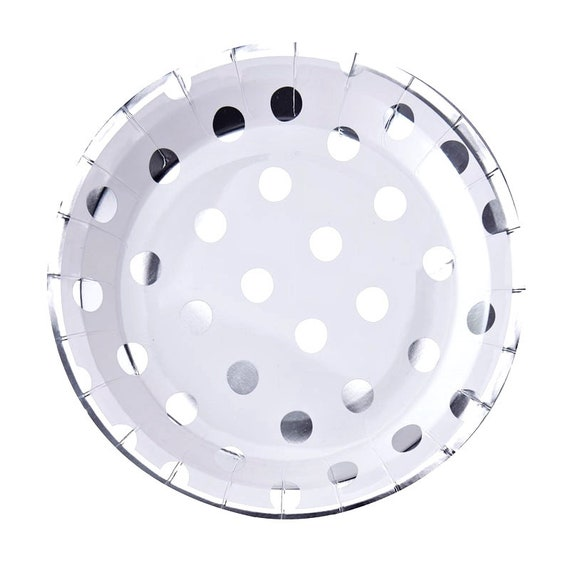 Bride and Co Silver Polka Dot Paper Plates, Baby and Co Baby Shower Supplies