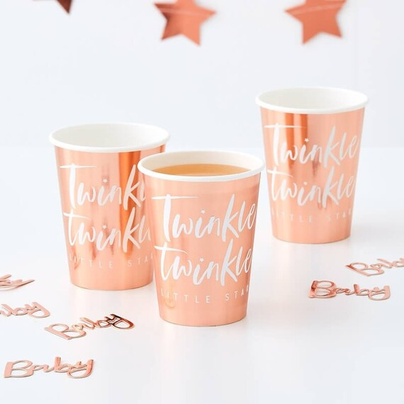 Rose Gold Cups, Twinkle Twinkle Little Star Party, Baby Shower Decor