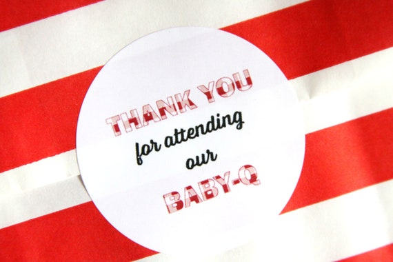 Baby Q Stickers, Baby-que Favors, Thank You, Cutlery Packet, Labels, BBQ, Red Gingham, Summer Baby Shower, Baby-q, Cookie Bags, Popcorn