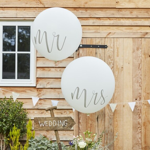 Mr and Mrs Wedding Balloons, Giant 36 Inch Round Balloons, White and Silver