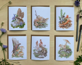 Note Card Set - 6 Amphibians & Mushrooms on Blank Recycled Cards