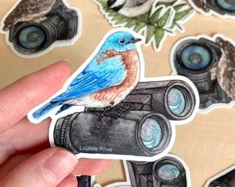 Vinyl Sticker - Eastern Bluebird on Binoculars watercolor