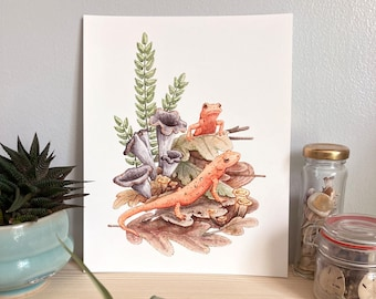 Red Efts with Trumpet Chanterelles Giclee Archival Print