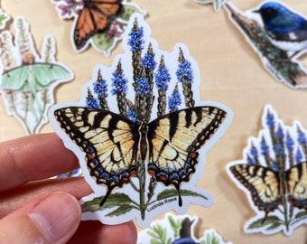 Vinyl Sticker - Eastern Tiger Swallowtail on Vervain watercolor