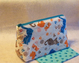 Quilted Cat Print Cosmetic Bag