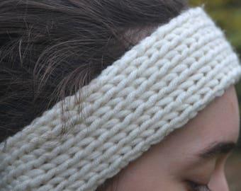 Headband, Ear warmer, Knitted Headband, Cream, Off White, Chunky Knit, Women's Accessories