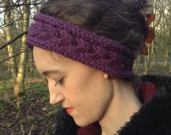 Headband, Knitted Headband, Ear Warmer, Women's Accessories, Knit, Earwarmer, Winter Headband, Earmuffs, Purple
